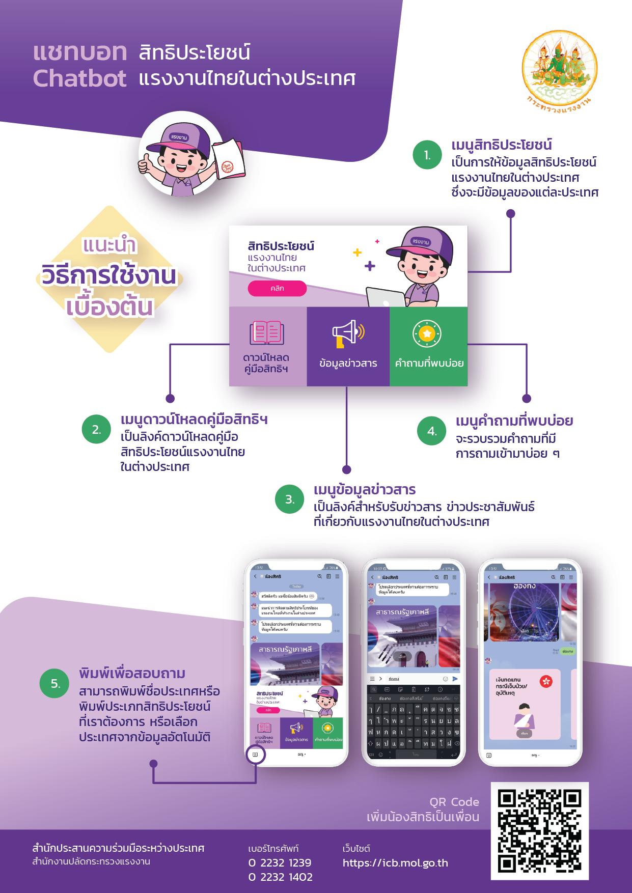 ระบบตอบข้อมูลสิทธิประโยชน์แรงงานไทยในต่างประเทศแบบอัตโนมัติ (Chatbot)